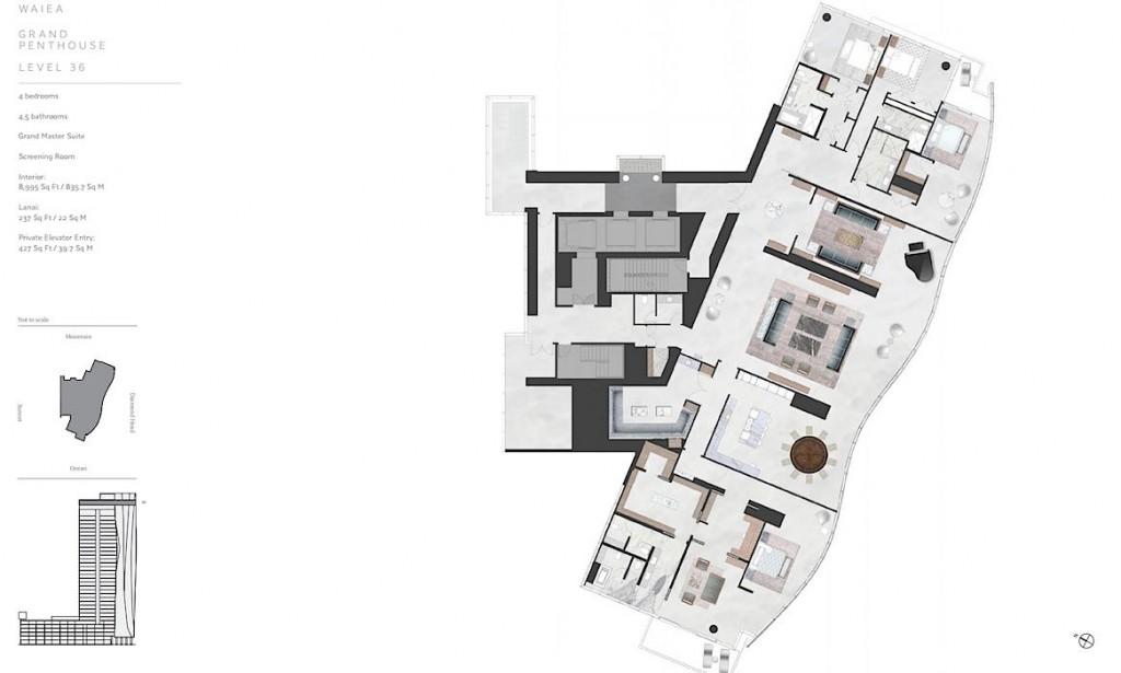 Waiea 36th Floor Grand Penthouse Floor Plan