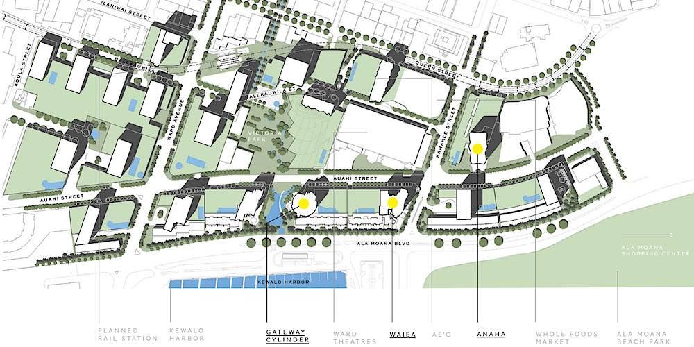 Ward Village Map Highlighting Waiea, Anaha & Cylinder at Gateway Towers