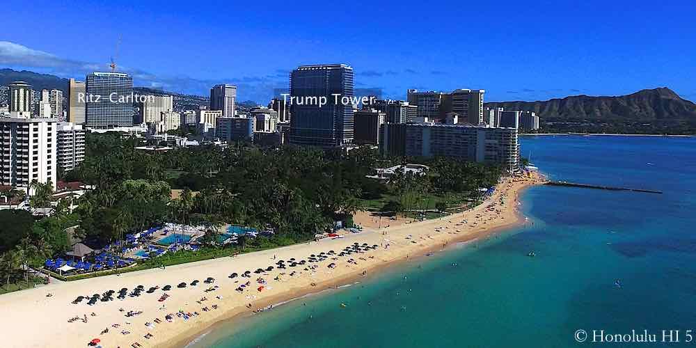 Trump Waikiki and Ritz Waikiki Seen From Ocean