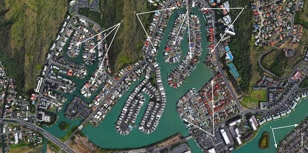 Hawaii Kai Executive Residences, Spinnaker Isle and West Marina - Aerial Map Photo
