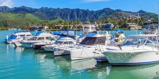 Boats Parked at Hawaii Kai Marina