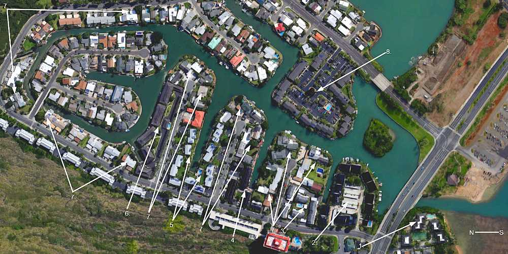 Various Hawaii Kai Marina Front Townhomes On Map