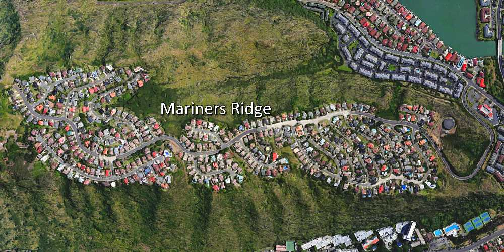 Aerial Map of Mariners Ridge in Hawaii Kai