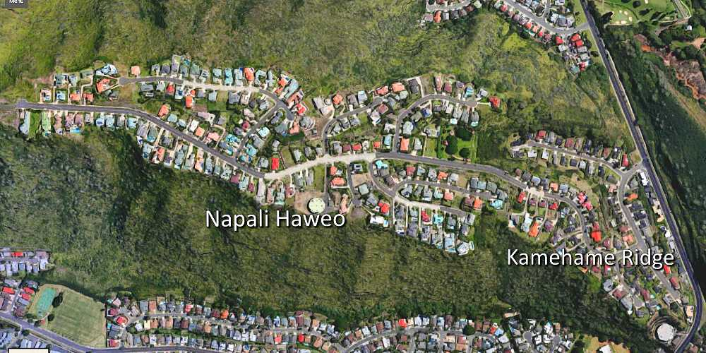 Aerial Map of Napali Haweo and Kamehame Ridge in Hawaii Kai
