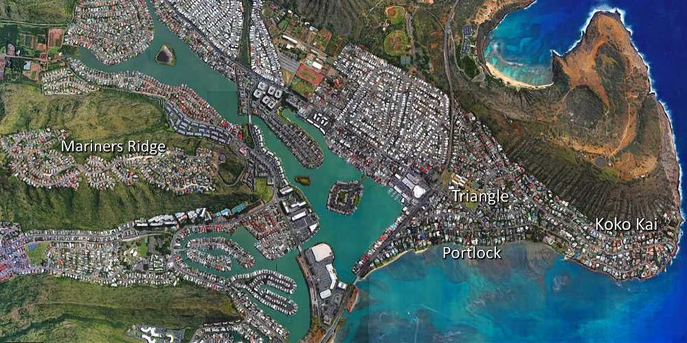Aerial Map of Hawaii's Kai's Portlock, Triangle, Koko Kai and Mariners Ridge Neighborhoods