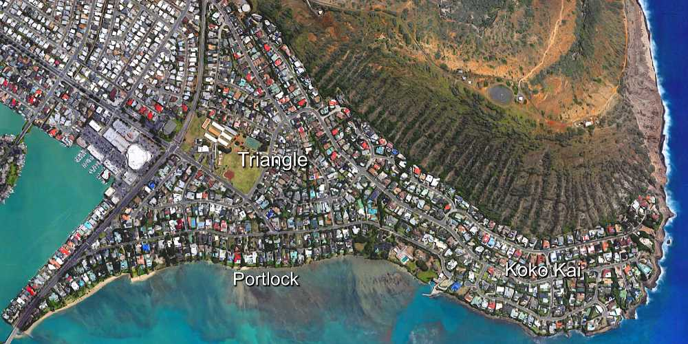Aerial Map of Hawaii Kai's Portlock, Triangle and Koko Kai Neighborhoods