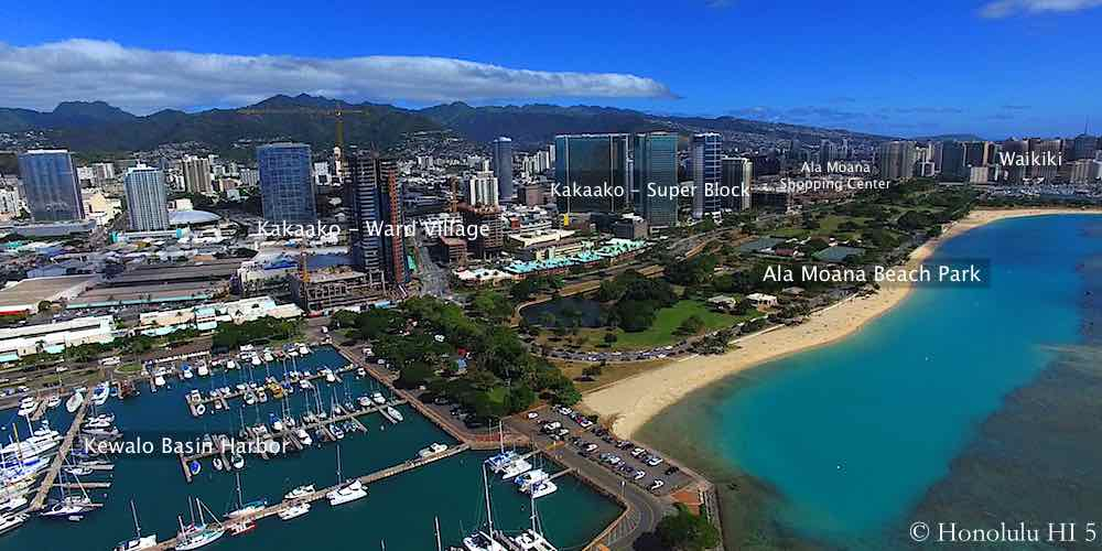 Kakaako Drone Photo From Ocean - Major Sections Labeled