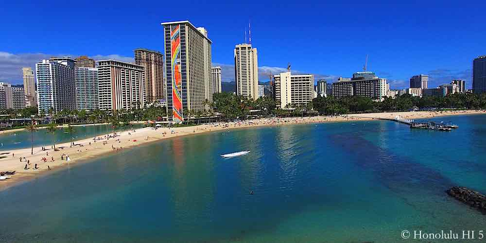 Waikiki Beach with Hotels & Condos in Background