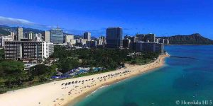 Waikiki Beachfront Condos & Hotels - Drone Photo from Ocean