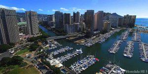 Waikiki Condos And Boat Harbor Drone Photo