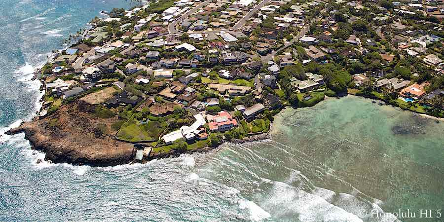 Black Point Honolulu Oceanfront Homes - Aerial Photo