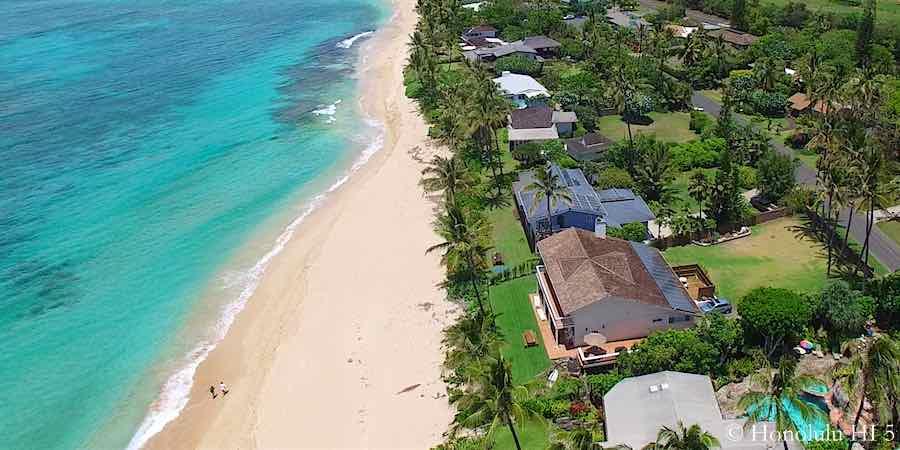Kawailoa Beach Front North Shore Homes - Aerial Photo