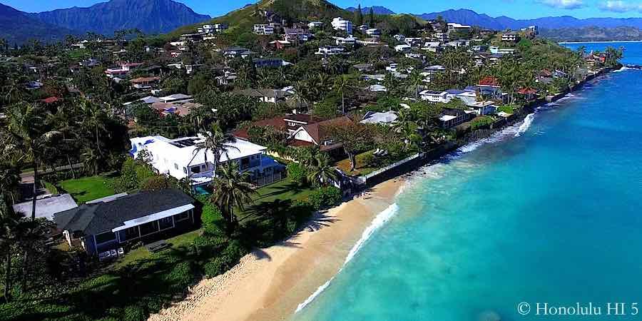 Lanikai Oceanfront Homes - Aerial Photo