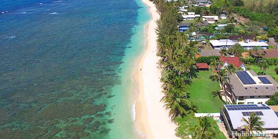 Mokuleia Beach Front Homes - Aerial Photo