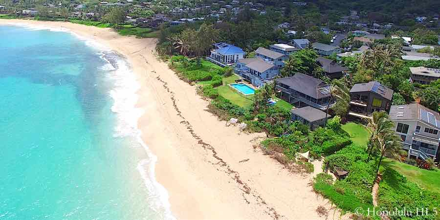 Sunset Oahu North Shore Beach Front Homes - Aerial Photo