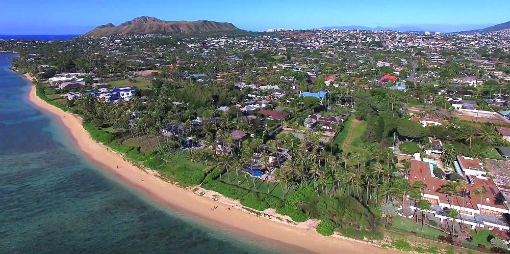 Kahala Beachfront Homes - Drone Photo