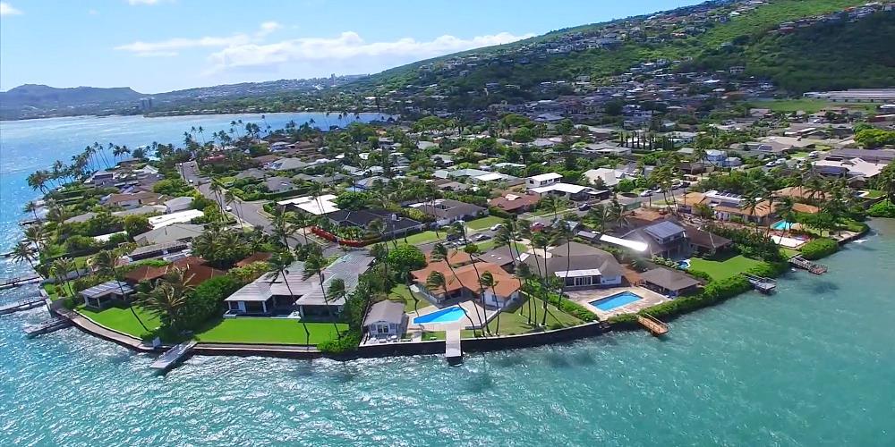 Wailupe Peninsula Oceanfront Homes - Drone Photo