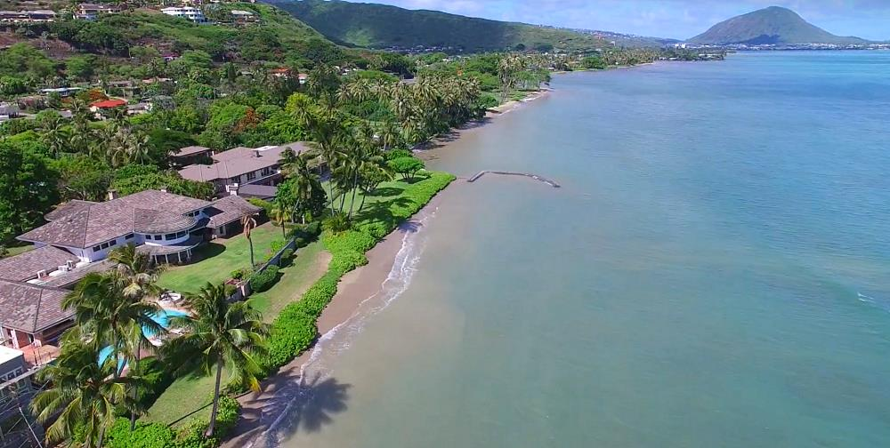 Aina Haina Beach Oceanfront Luxury Homes - Drone Photo
