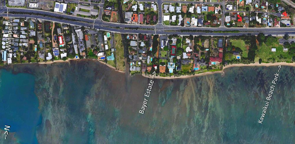 Aina Haina Beach Aerial Map