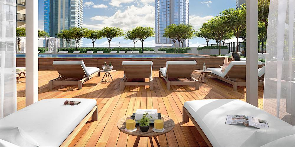 Aalii Condo Lounge Chairs by Pool - Rendering