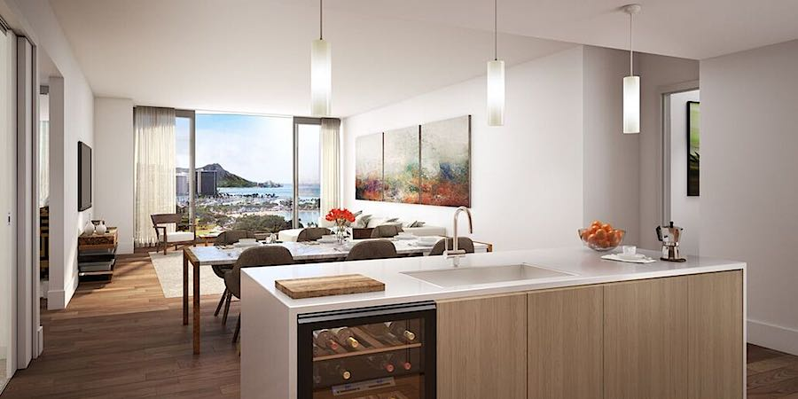 Anaha Kitchen, Living and Ocean View Rendering