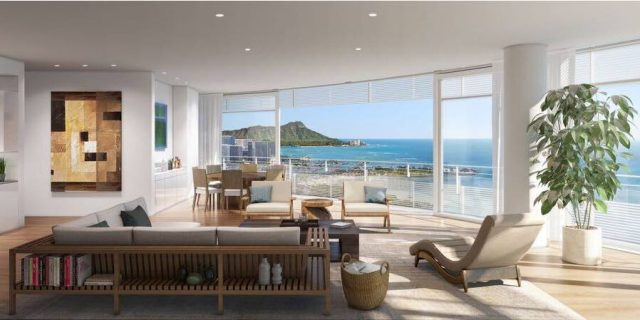 Rendering of A Honolulu Luxury Condo Living Room With Ocean Views