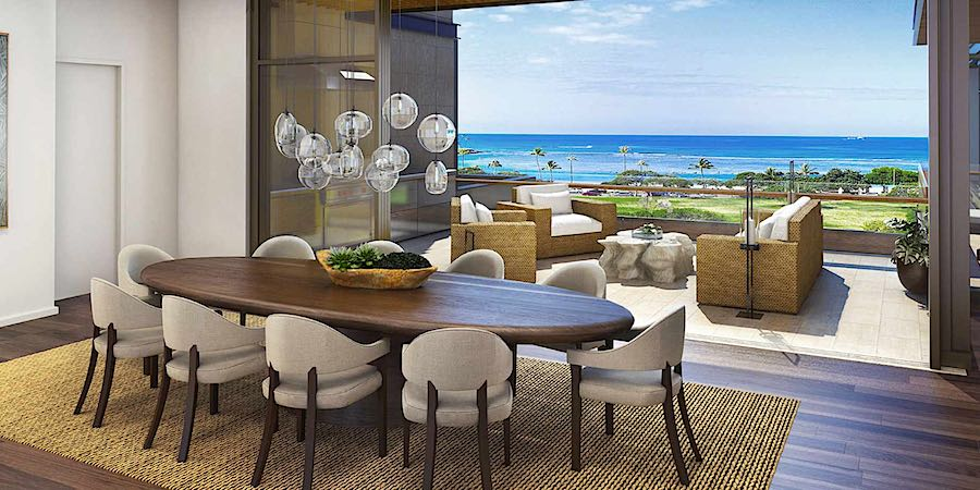 Park Lane Ala Moana Living and Balcony Rendering