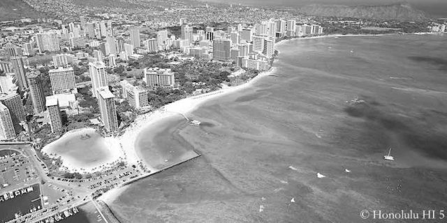 Waikiki Real Estate in Black and White - Aerial Photo