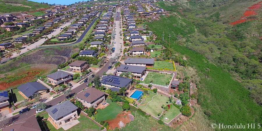 Makakilo Single-Family Homes on Cliff - Aerial Photo