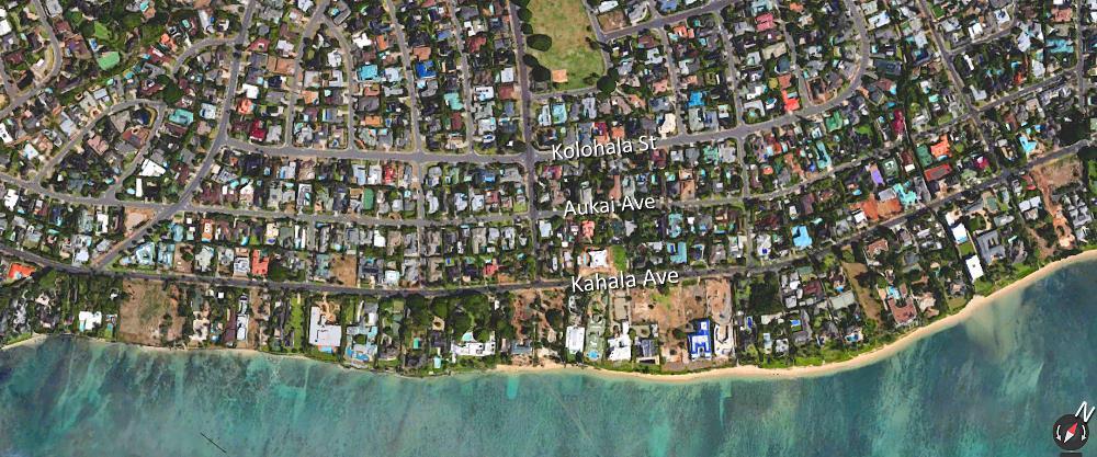 Kahala Ave, Aukai Ave and Kolohala Ave - Aerial Map