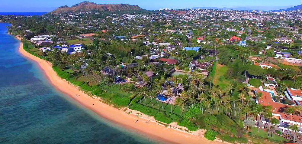 Kahala Ave Beachfront Homes - Aerial Photo