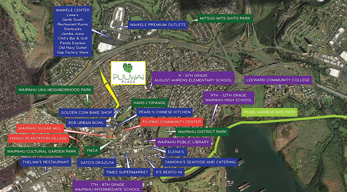 Waikele & Waipahu Map - Shows Puuwai Place Location