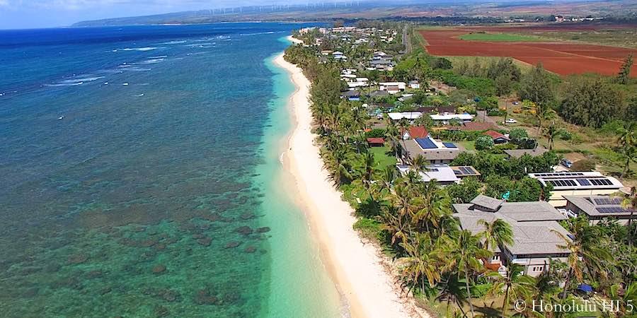 Mokuleia Beachfront Homes on North Shore - Aerial Photo
