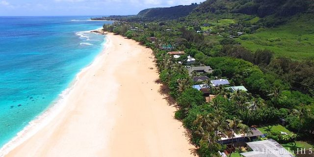 Beachfront Homes on Oahu's North Shore - Aerial Photo