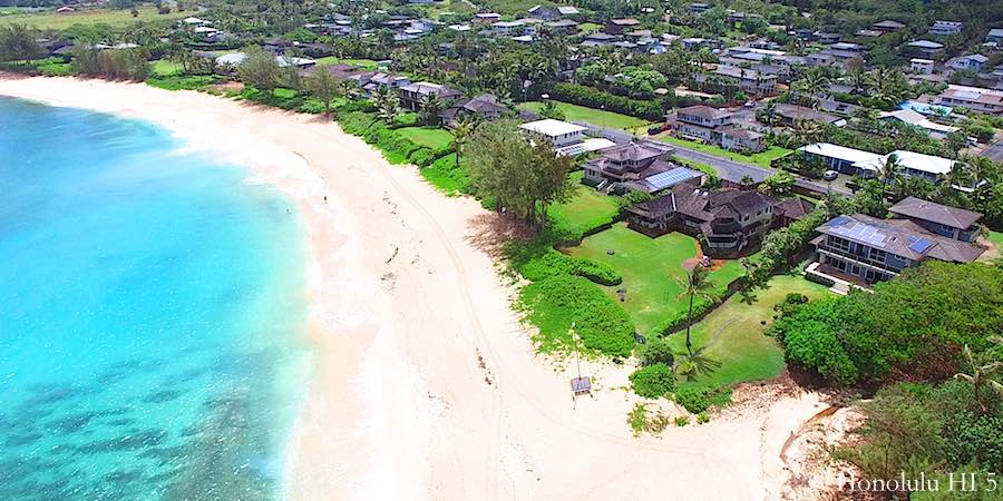Sunset Beachfront Homes on Oahu's North Shore - Aerial Photo