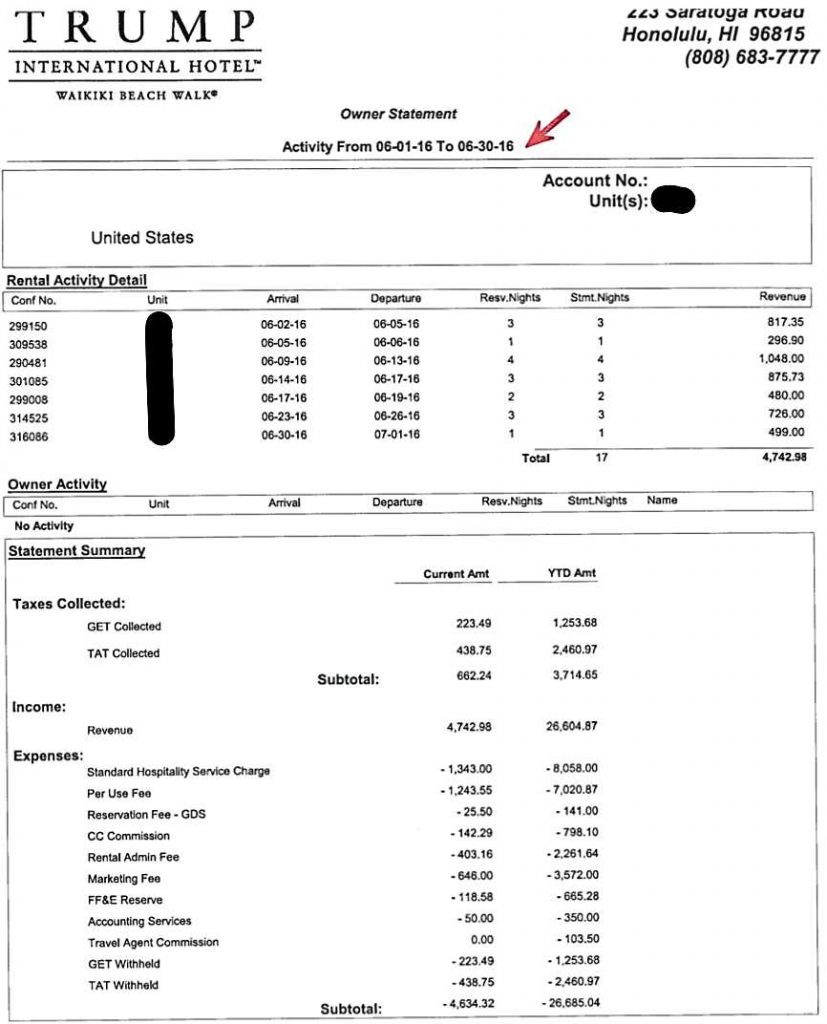 Trump Tower Waikiki Studio June 2016 income statement page 1