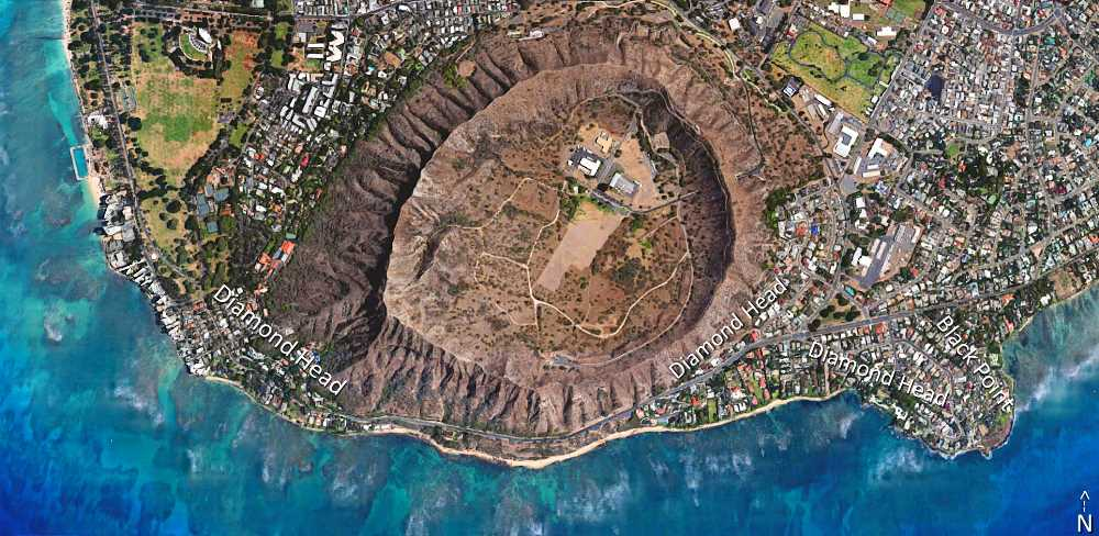 Diamond Head & Black Point Satellite Map Photo