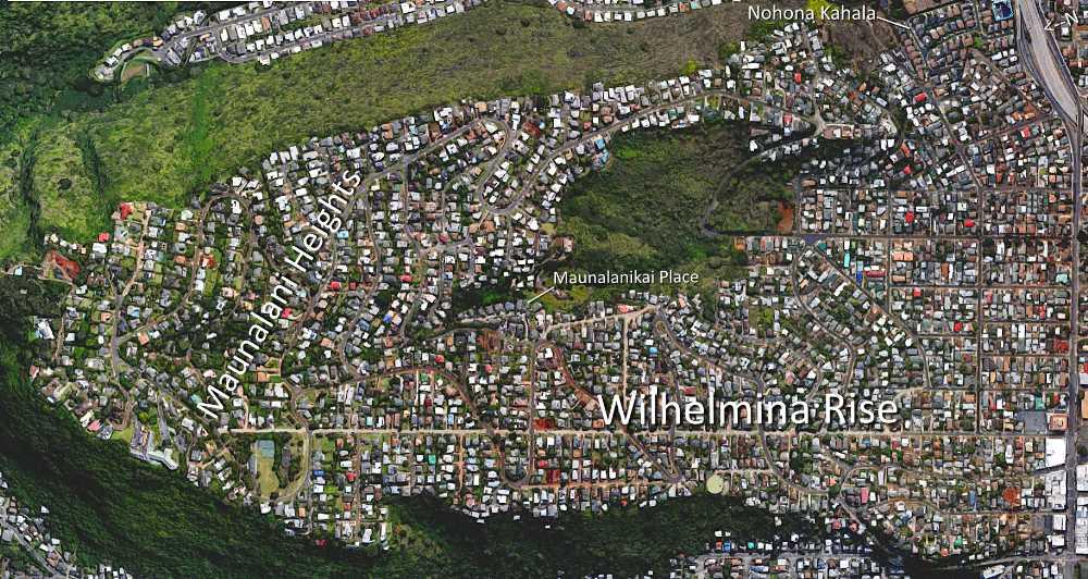 Wilhelmina Rise & Maunalani Heights Satellite Map Photo