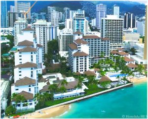 Halekulani Hotel - Drone Photo Seen From Waikiki Beach