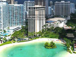Lagoon Tower - Hilton Hawaiian Village. Drone Photo