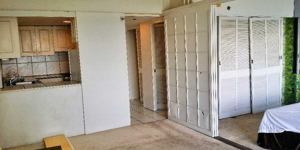 Living room with shoji door before