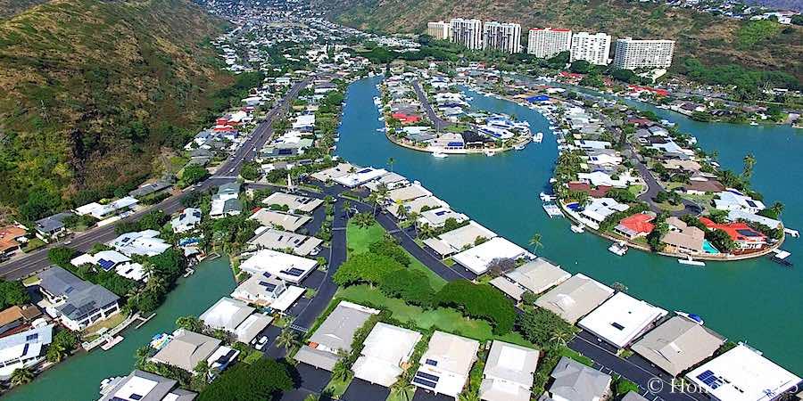 Hawaii Kai Marina Front Homes - Drone Photo