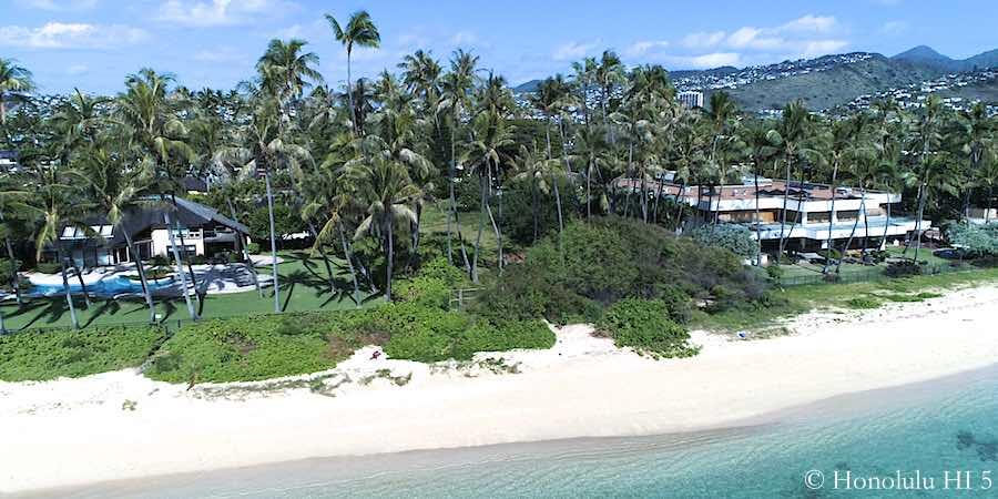 Kahala Ave Beachfront Homes - Drone Photo