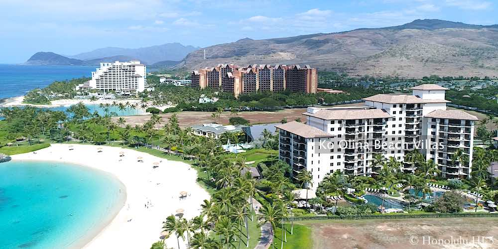 Ko Olina Beach Villas With Hotels in Background - Drone Photo