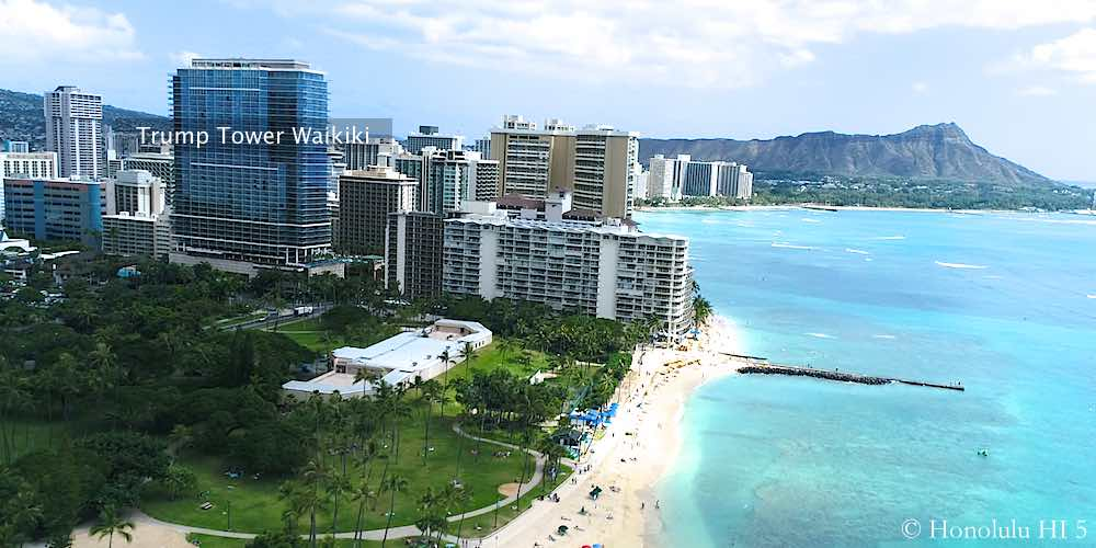 Trump Tower Waikiki and Other Condos and Hotels - Drone Photo