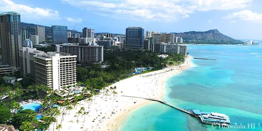 Waikiki Beach, Hotels and Condos - Drone Photo
