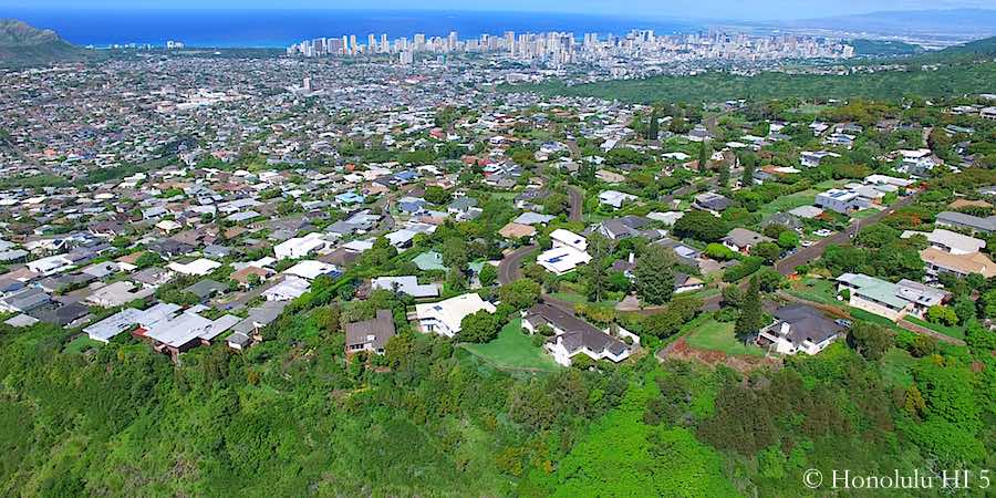 Wilhelmina Rise Homes - Drone Photo. Waikiki in Distance