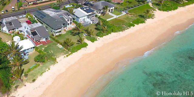Beachfront Homes on Oahu's North Shore - Drone Photo
