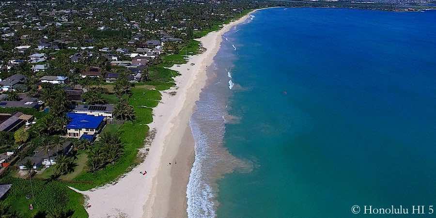 Beachfront Homes in Beachside Kailua - Drone Photo