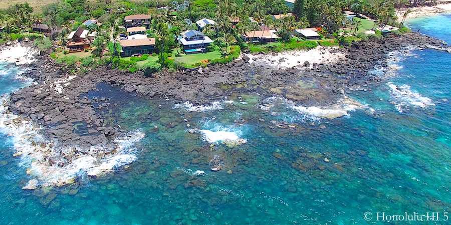 Oceanfront Kawailoa Homes on North Shore - Drone Photo